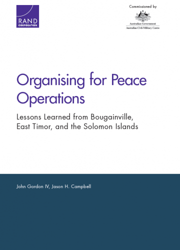 Organising for Peace Operations: Lessons Learned from Bougainville East Timor and the Solomon Islands
